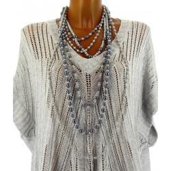 gros collier sautoir multi rangs perles couture gris TRINITY