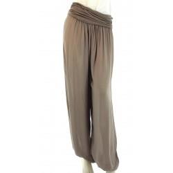 Pantalon sarouel fluide large taupe MARLO
