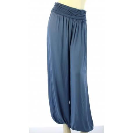 Pantalon sarouel fluide large bleu jean MARLO