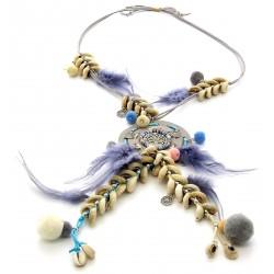 sautoir collier bohème hippie boho gris AVATAR