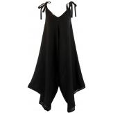 Robe combinaison longue lin bohème noir  YONI