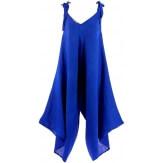 Robe combinaison longue lin bohème bleu royal YONI