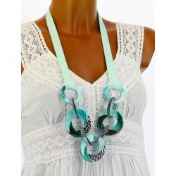 Gros collier sautoir bijoux couture fantaisie résine turquoise LYRONNE