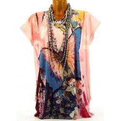 Tee Shirt drapé ample papillon THANIA rose