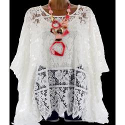 Poncho blouse paréo dentelle bohème blanc MORGANE