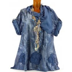 Tunique chemise été bohème Coton grande taille bleu jean MARTINE