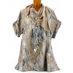 Tunique chemise été bohème Coton grande taille taupe MARTINE