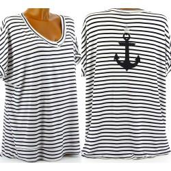 tee shirt tunique marin grande taille bohème YVETTE