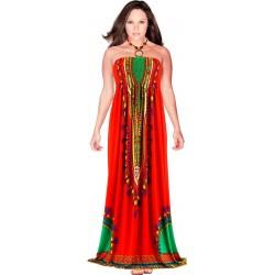 Robe longue bustier été bohème ethnique rouge HELENA
