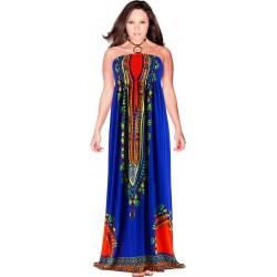 Robe longue bustier été bohème ethnique bleu HELENA