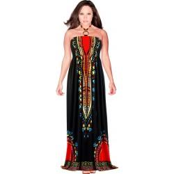 Robe longue été bohème ethnique noir HELENA
