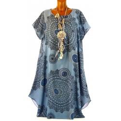 Robe été ethnique bohème grande taille bleu JOSSELYNE