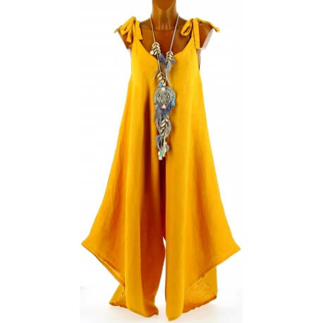 Robe combinaison longue lin bohème safran YONI