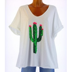 tee shirt coton grande taille bohème tendance blanc CACTUS