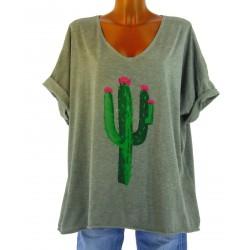 tee shirt coton grande taille bohème tendance kaki CACTUS
