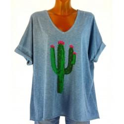 tee shirt coton grande taille bohème tendance bleu jean CACTUS