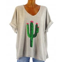 tee shirt coton grande taille bohème tendance gris taupe CACTUS