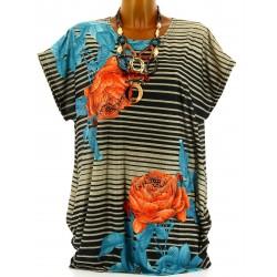 Tee shirt bohème fleurs rayures grande taille noir NICOLE