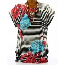 Tee shirt bohème fleurs rayures grande taille noir turquoise NICOLE