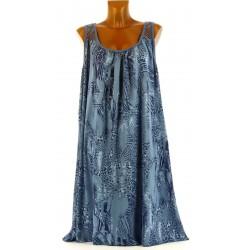Robe été bohème ethnique dentelle grande taille bleu jean SOLANGE