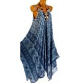 Robe longue été asymétrique bohème ethnique bleu MARLENA