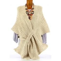 Gilet poncho laine alpaga grosse maille hiver beige ATOS
