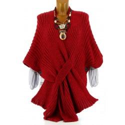 Gilet poncho laine alpaga grosse maille hiver bordeaux ATOS