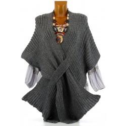Gilet poncho laine alpaga grosse maille hiver gris ATOS