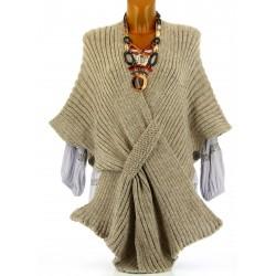 Gilet poncho laine alpaga grosse maille hiver taupe ATOS