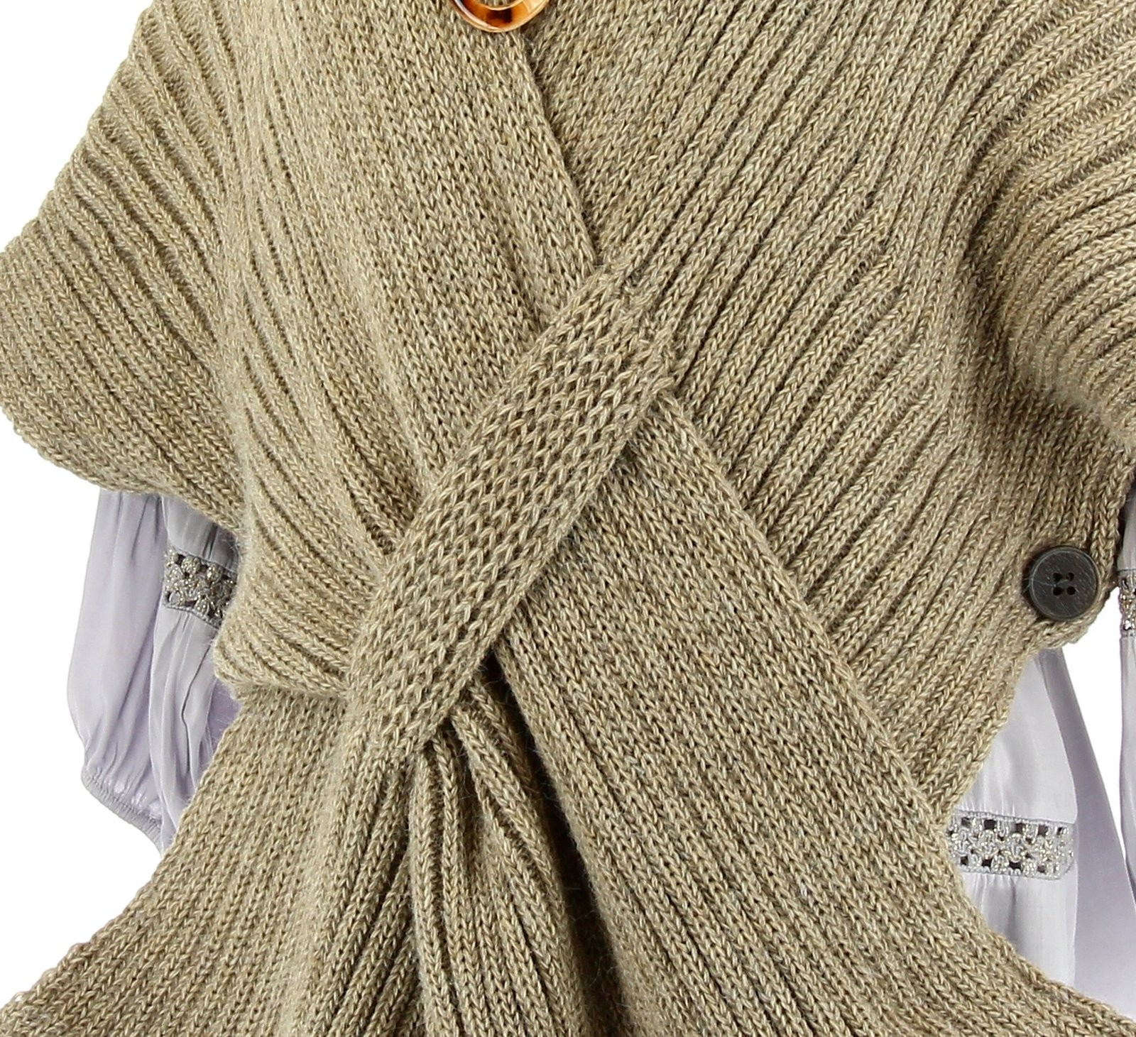Gilet poncho laine alpaga grosse maille hiver taupe atos - Laine grosse maille ...