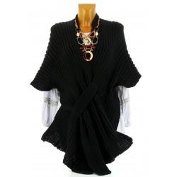 Gilet poncho laine alpaga grosse maille hiver noir ATOS