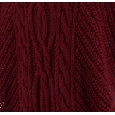 Poncho pull cape laine alpaga grosse maille hiver bordeaux  ELODY
