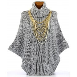 Poncho pull cape laine alpaga grosse maille hiver gris perle  ELODY