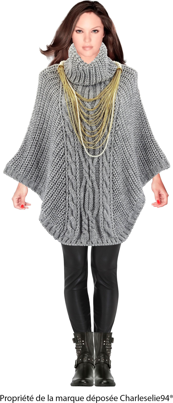 poncho pull cape laine alpaga pais grande taille hiver gris perle. Black Bedroom Furniture Sets. Home Design Ideas