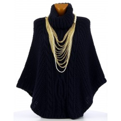 Poncho pull cape laine alpaga grosse maille hiver bleu marine  ELODY