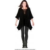 Tunique  asymétrique capuche hiver bohème grande taille noir BLANCA