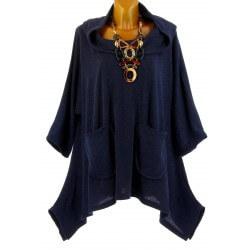 Tunique  asymétrique capuche hiver bohème grande taille bleu BLANCA
