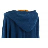 Tunique  asymétrique capuche hiver bohème grande taille bleu pétrôle BLANCA