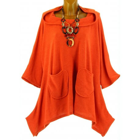 Tunique  asymétrique capuche hiver bohème grande taille orange BLANCA