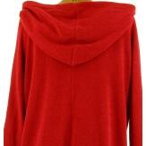 Tunique  asymétrique capuche hiver bohème grande taille rouge BLANCA