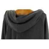 Tunique  asymétrique capuche hiver bohème grande taille gris BLANCA