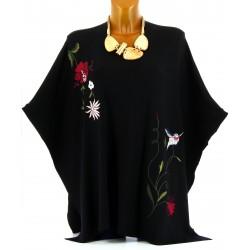 Poncho pull cape brodé hiver grande taille noir ARLETTE
