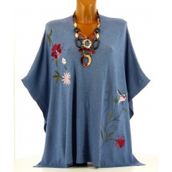 Poncho pull cape brodé hiver grande taille bleu jean ARLETTE