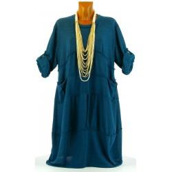 Robe hiver ample bohème grande taille bleu canard PATRICIA
