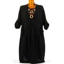 Robe hiver ample bohème grande taille noir PATRICIA