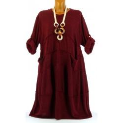 Robe hiver ample bohème grande taille bordeaux PATRICIA