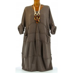 Robe hiver ample bohème grande taille taupe PATRICIA