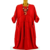 Robe hiver ample bohème grande taille rouge PATRICIA