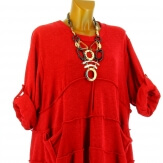 Robe hiver ample bohème grande taille rouge PATRICIA