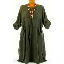 Robe hiver ample bohème grande taille kaki PATRICIA